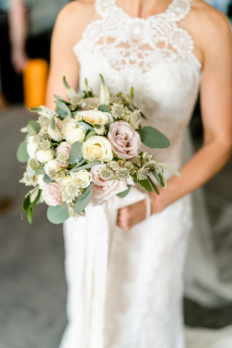 Bride Bridal Bouquet Rose Eucalyptus Pink Cream Pastel Nostalgic Honest British Loseley Park Wedding Surrey https://www.johnbarwoodphotography.co.uk/