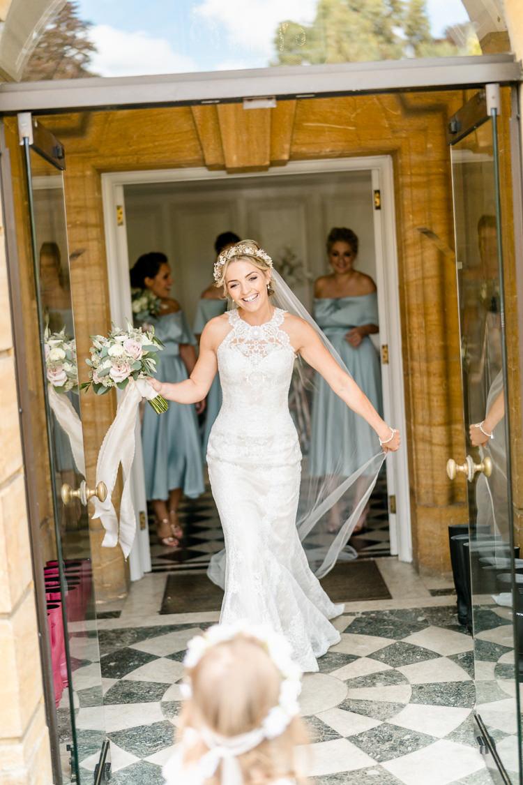 Lace Keyhole Neck Fitted Pronovias Dress Gown Bride Bridal Faux Flower Crown Veil Bouquet Ribbon Flower Girl Nostalgic Honest British Loseley Park Wedding Surrey https://www.johnbarwoodphotography.co.uk/