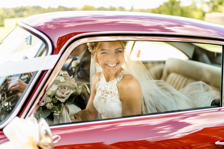 Lace Keyhole Neck Fitted Pronovias Dress Gown Bride Bridal Faux Flower Crown Veil Bouquet Ribbon Vintage Car Travel Transport Nostalgic Honest British Loseley Park Wedding Surrey https://www.johnbarwoodphotography.co.uk/