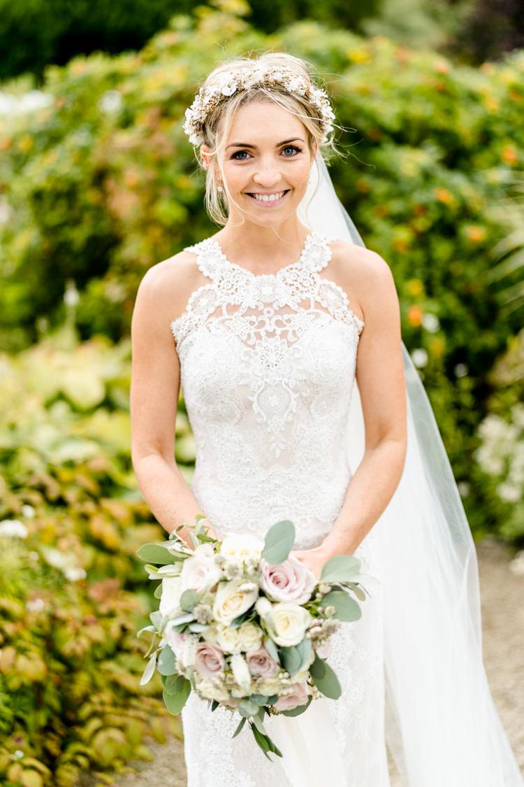 Lace Keyhole Neck Fitted Pronovias Dress Gown Bride Bridal Faux Flower Crown Veil Bouquet Ribbon Nostalgic Honest British Loseley Park Wedding Surrey https://www.johnbarwoodphotography.co.uk/