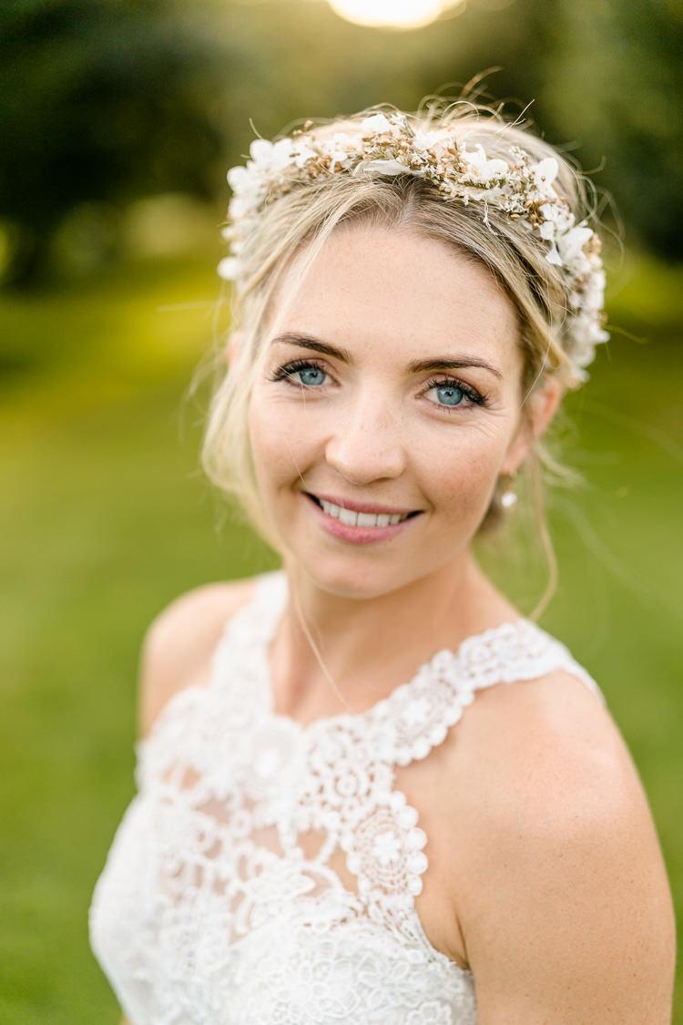 Bride Bridal Fake Faux Flower Crown Keyhole Neckline Lace Pronovias Nostalgic Honest British Loseley Park Wedding Surrey https://www.johnbarwoodphotography.co.uk/
