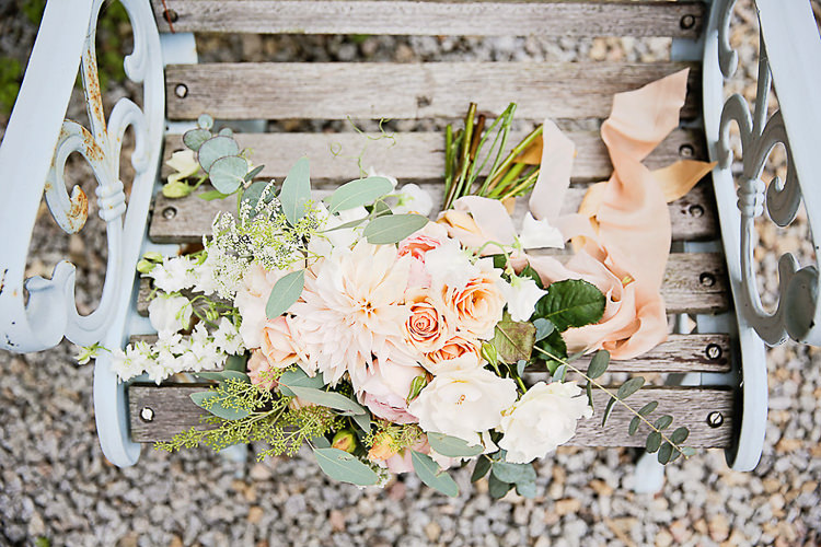 Bride Bridal Peach Rose Eucalyptus Bouquet Pretty Sparkly Lusty Glaze Beach Cornwall Wedding http://victoriamitchellphotography.com/