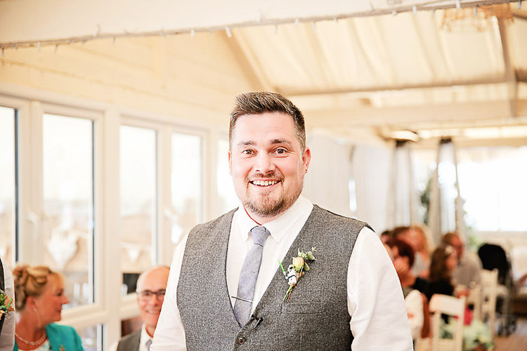 Groom Tweed Waistcoat Pretty Sparkly Lusty Glaze Beach Cornwall Wedding http://victoriamitchellphotography.com/