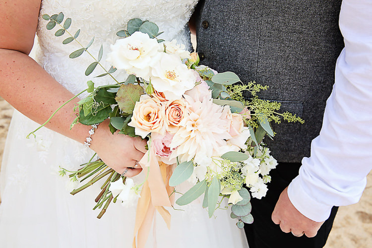 Bride Bridal Pink Peach Bouquet Rose Eucalyptus Pretty Sparkly Lusty Glaze Beach Cornwall Wedding http://victoriamitchellphotography.com/