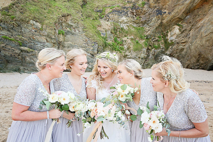 Bride Bridal Flower Crown Dress Gown Glittery ASOS Bridesmaids Grey Sequins Bouquet Peach Pink Pastel Eucalyptus Pretty Sparkly Lusty Glaze Beach Cornwall Wedding http://victoriamitchellphotography.com/