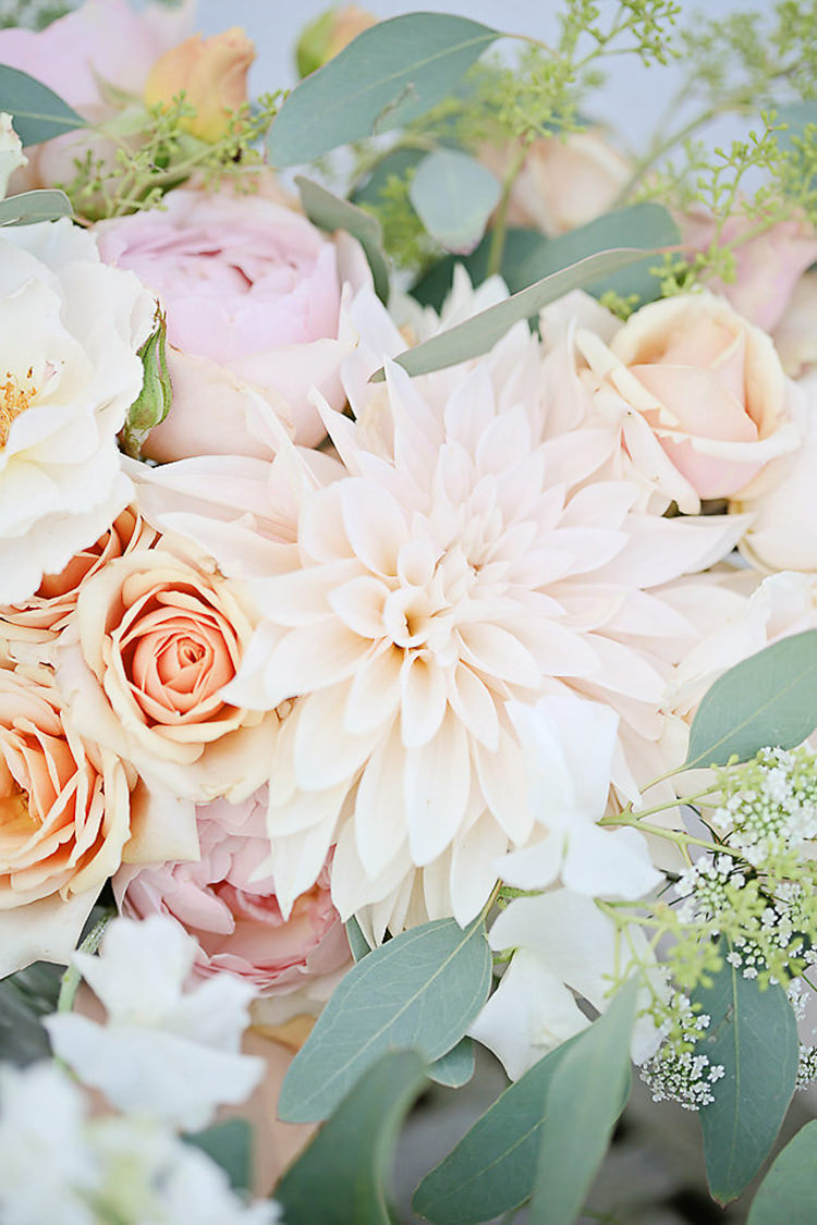 Pink Peach Flowers Floral Rose Dahlia Eucalyptus Pretty Sparkly Lusty Glaze Beach Cornwall Wedding http://victoriamitchellphotography.com/