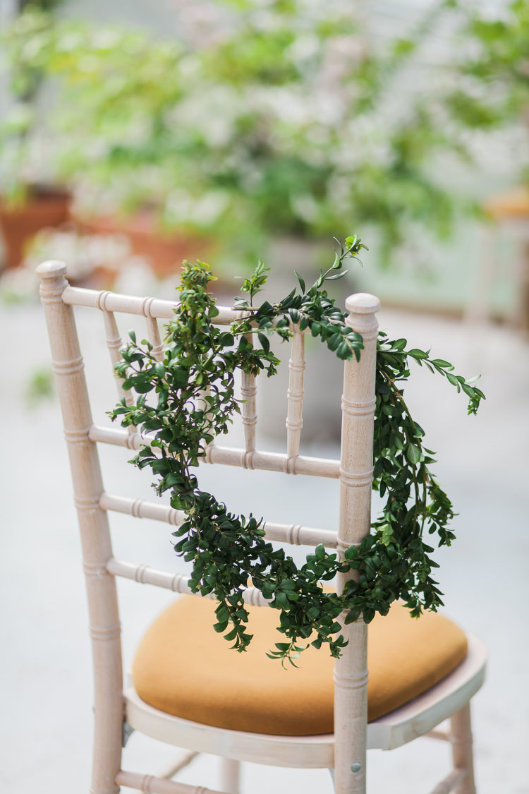 Chair Greenery Foliage Garland Spring Floral Polytunnel Sunny Wedding Colstoun House Scotland http://solenphotography.co.uk/