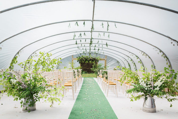 Foliage Greenery Flowers Ceremony Green Carpet Churns Hanging Spring Floral Polytunnel Sunny Wedding Colstoun House Scotland http://solenphotography.co.uk/