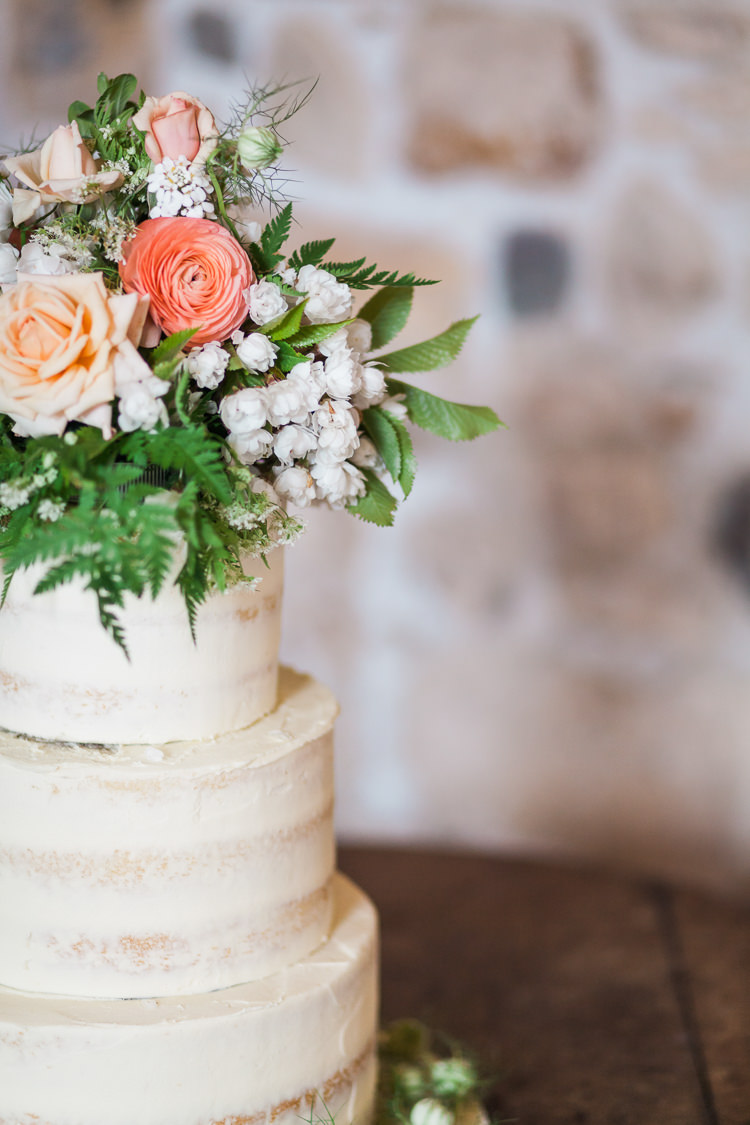 Semi Naked Buttercream Cake Tiered Flowers Greenery Topper Spring Floral Polytunnel Sunny Wedding Colstoun House Scotland http://solenphotography.co.uk/