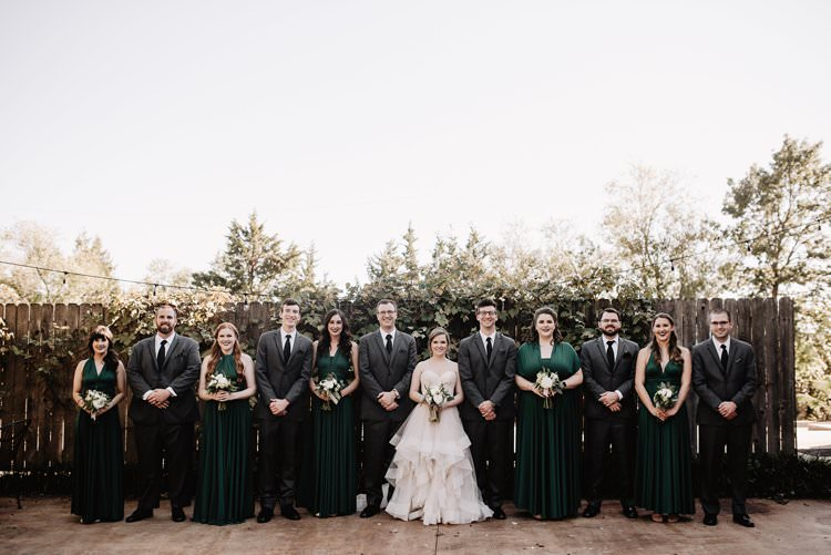 Outdoor Destination Classic Romantic Pink Princess Gown Bride Emerald Green Bridesmaids White Bouquet Groom Groomsmen | Dreamy Blush Emerald Fairytale Wedding Oklahoma http://www.kelcyleighphotography.com/
