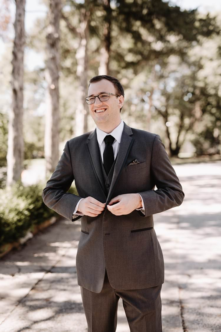 Outdoor Destination Classic Neutral Simple White Black Romantic Groom Suit | Dreamy Blush Emerald Fairytale Wedding Oklahoma http://www.kelcyleighphotography.com/