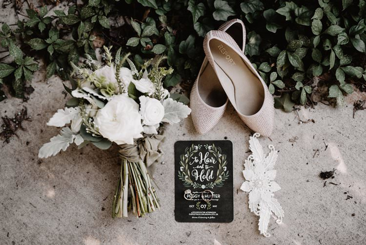 Outdoor Destination Classic Neutral Simple White Greenery Bouquet Black Stationery Sparkly Shoes | Dreamy Blush Emerald Fairytale Wedding Oklahoma http://www.kelcyleighphotography.com/