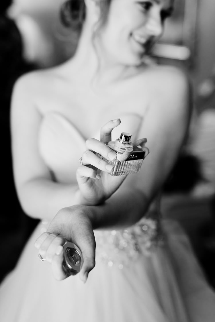 Classic Elegant Bride Preparation Wedding Morning Perfume Bridal Scent | Dreamy Blush Emerald Fairytale Wedding Oklahoma http://www.kelcyleighphotography.com/