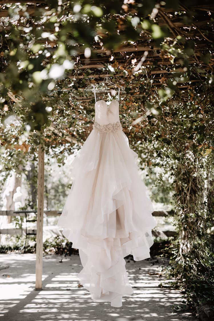 Outdoor Destination Classic Princess Pink Bride Floral Gown Allure Bridals Hanging Dress| Dreamy Blush Emerald Fairytale Wedding Oklahoma http://www.kelcyleighphotography.com/