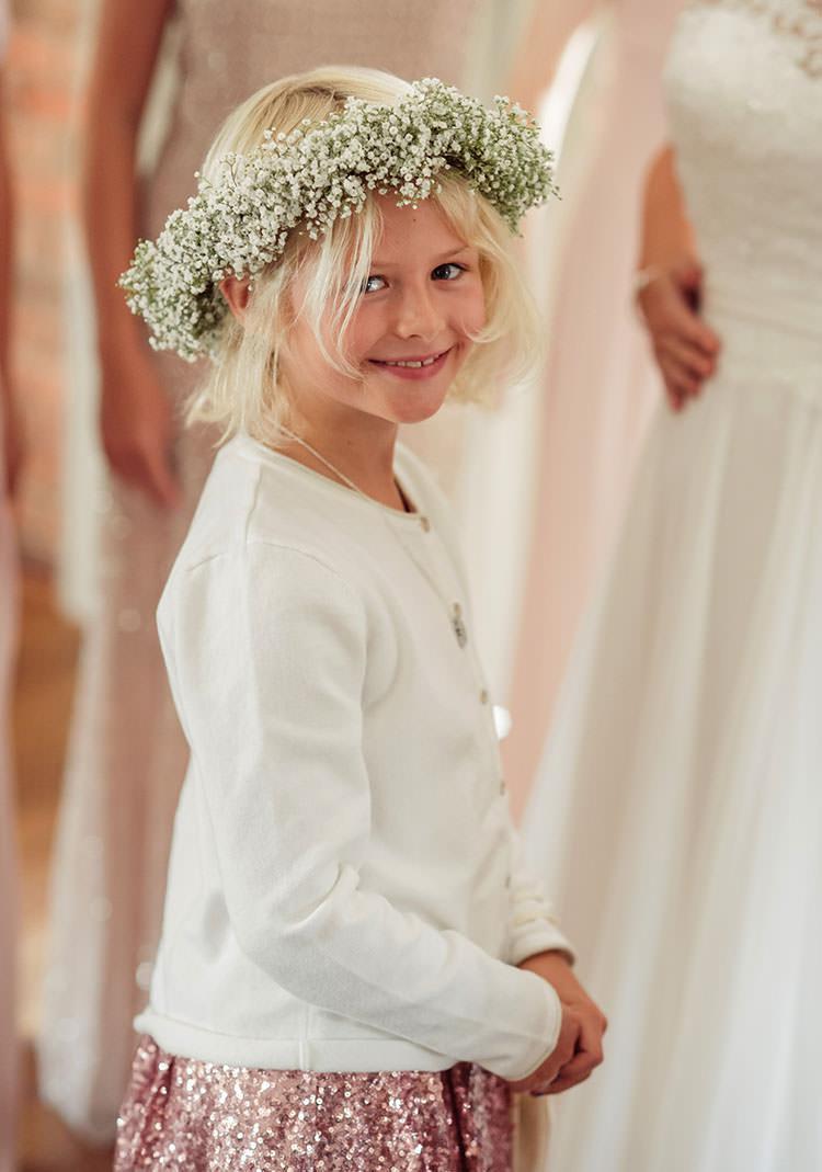 Gypsophila Flower Crown Girl Bridesmaid Seqiun Dress Cardigan Bridge House Barn Leicestershire Wedding Colourful DIY Festival Tipi https://bpwphotography.com/