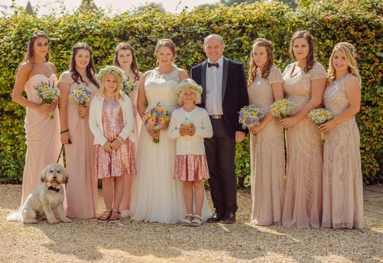 Pink Mismatched Bridesmaid Dresses Long Maxi Bridge House Barn Leicestershire Wedding Colourful DIY Festival Tipi https://bpwphotography.com/
