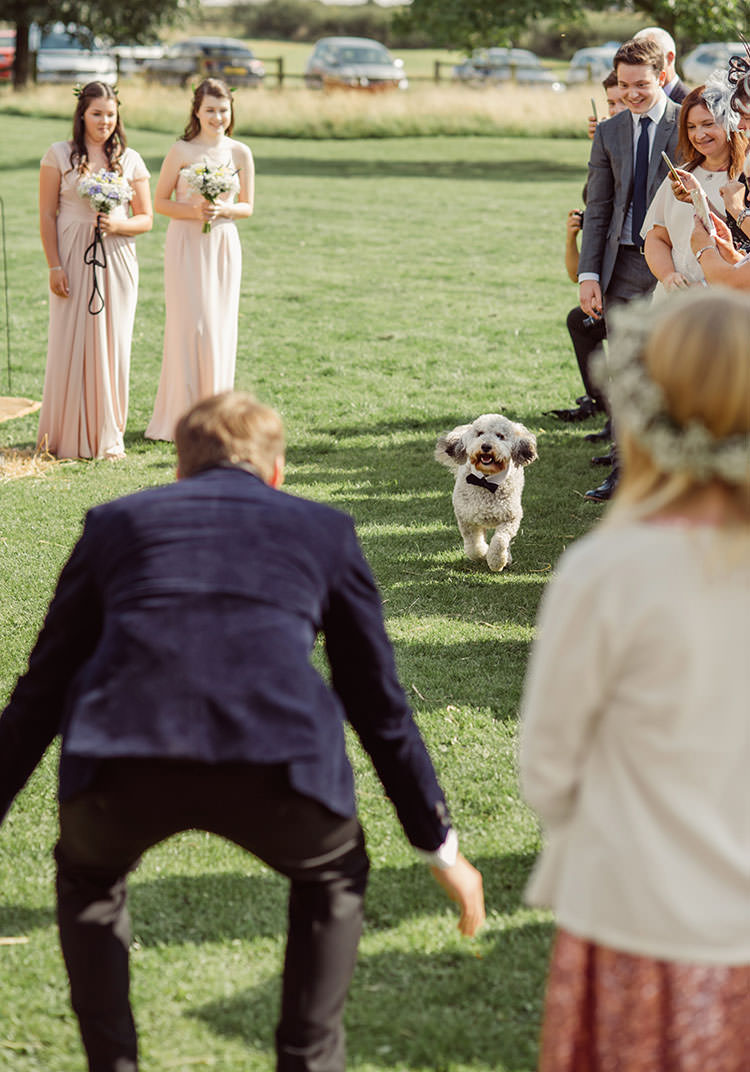 Dog Pet Aisle Ceremony Bridge House Barn Leicestershire Wedding Colourful DIY Festival Tipi https://bpwphotography.com/