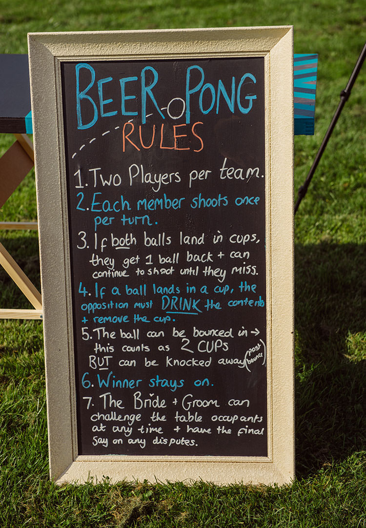 Beer Pong Sign Game Bridge House Barn Leicestershire Wedding Colourful DIY Festival Tipi https://bpwphotography.com/