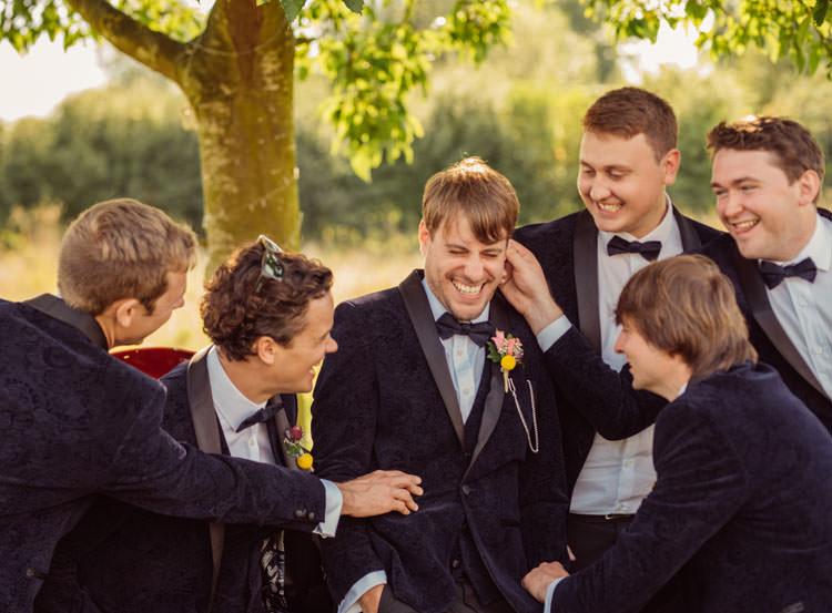 Groom Groomsmen Groomsman Best Man Suits Bow Tie Velvet Bridge House Barn Leicestershire Wedding Colourful DIY Festival Tipi https://bpwphotography.com/