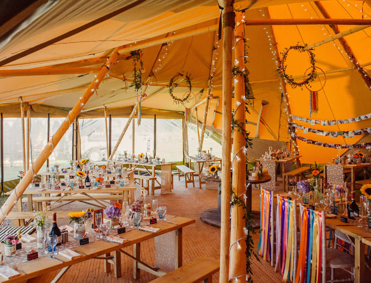 Floral Hoops Decor Bridge House Barn Leicestershire Wedding Colourful DIY Festival Tipi https://bpwphotography.com/