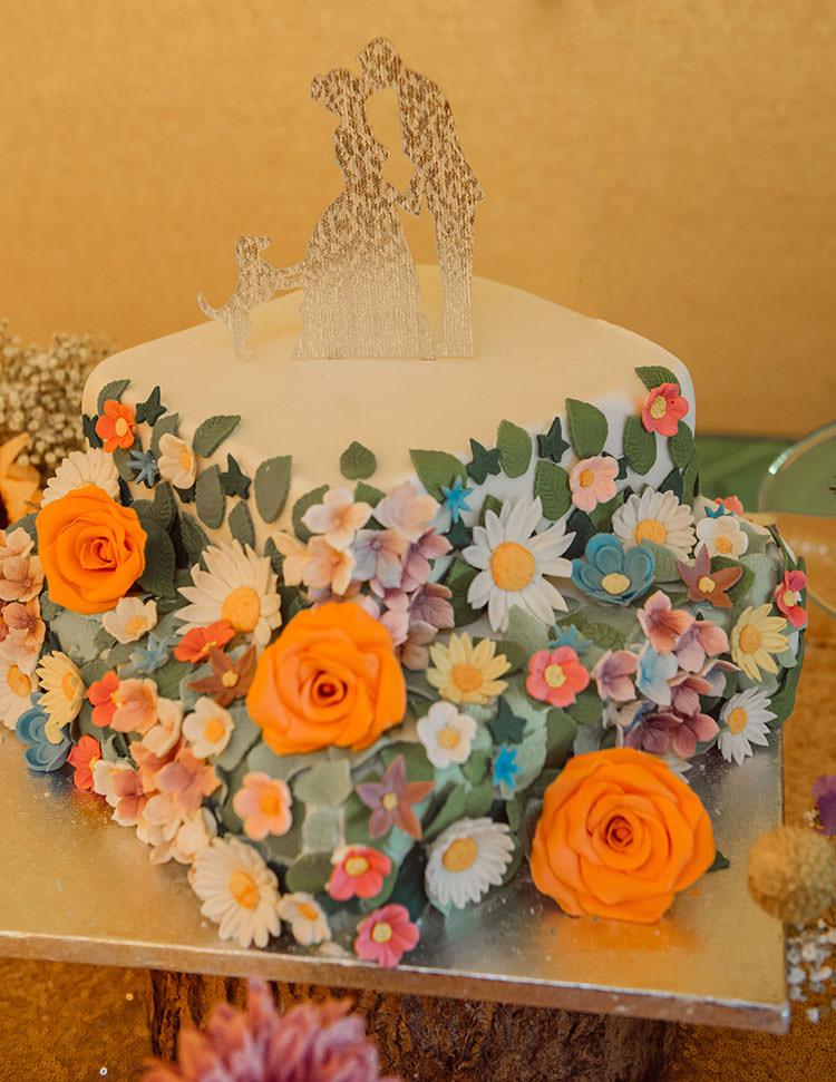 Floral Cake Sugar Flowers Homemade Bridge House Barn Leicestershire Wedding Colourful DIY Festival Tipi https://bpwphotography.com/