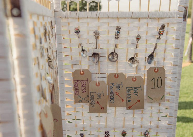 Spoon Seating Plan Table Chart Luggage Tag Bridge House Barn Leicestershire Wedding Colourful DIY Festival Tipi https://bpwphotography.com/