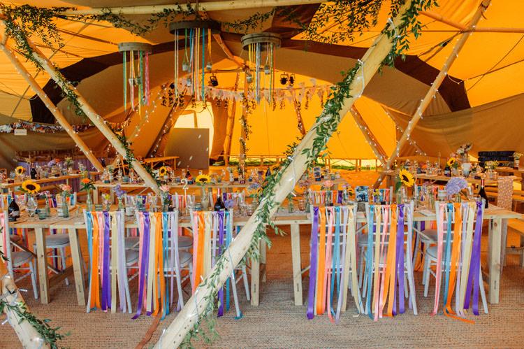 Rainbow Ribbons Chair Decor Bridge House Barn Leicestershire Wedding Colourful DIY Festival Tipi https://bpwphotography.com/