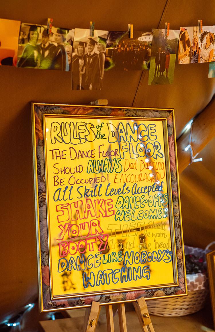 Dancefloor Rules Sign Bridge House Barn Leicestershire Wedding Colourful DIY Festival Tipi https://bpwphotography.com/