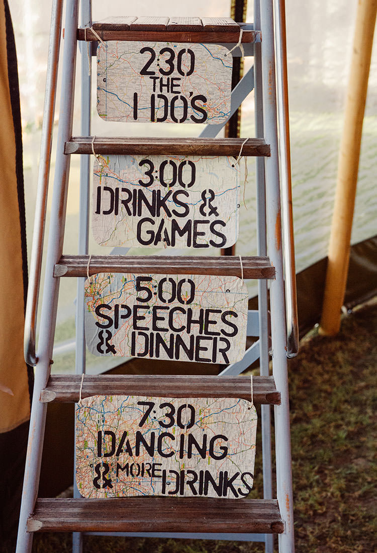 Order Day Sign Ladder Map Bridge House Barn Leicestershire Wedding Colourful DIY Festival Tipi https://bpwphotography.com/