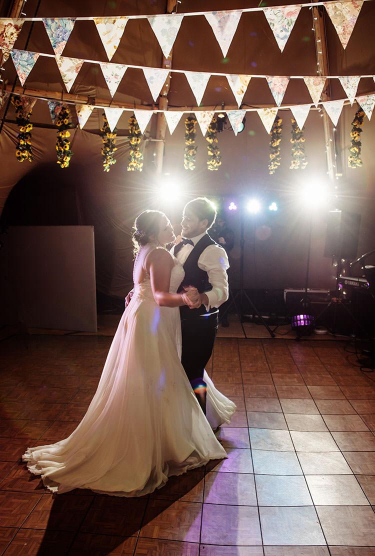 First Dance Bridge House Barn Leicestershire Wedding Colourful DIY Festival Tipi https://bpwphotography.com/