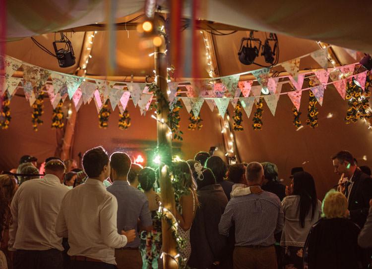 Bridge House Barn Leicestershire Wedding Colourful DIY Festival Tipi https://bpwphotography.com/
