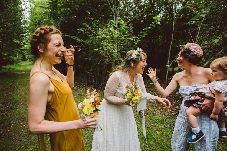 Bride Bridal Lace long Sleeved Dress Gown V Neck Yellow Bridesmaid Halo Plait Bouquet Wild Flower Woodland Organic Farm Shop Wedding Gloucestershire https://www.edgodden.co.uk/
