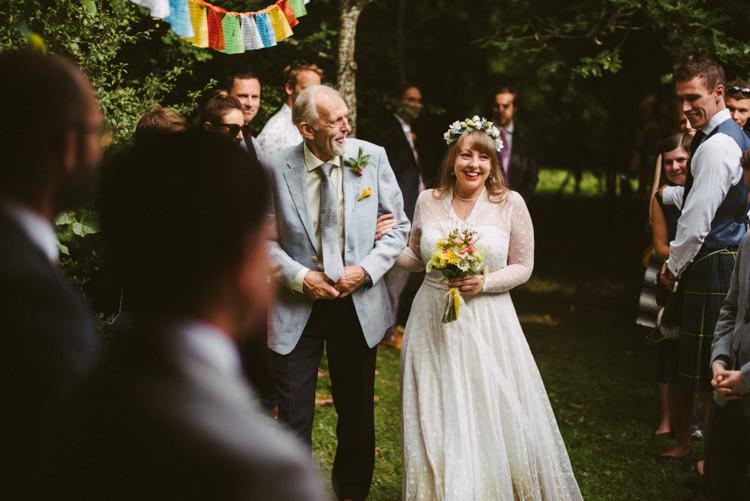 Bride Bridal Lace long Sleeved Dress Gown V Neck Wild Flower Bouquet Yellow Dip Dye Underskirt Woodland Organic Farm Shop Wedding Gloucestershire https://www.edgodden.co.uk/