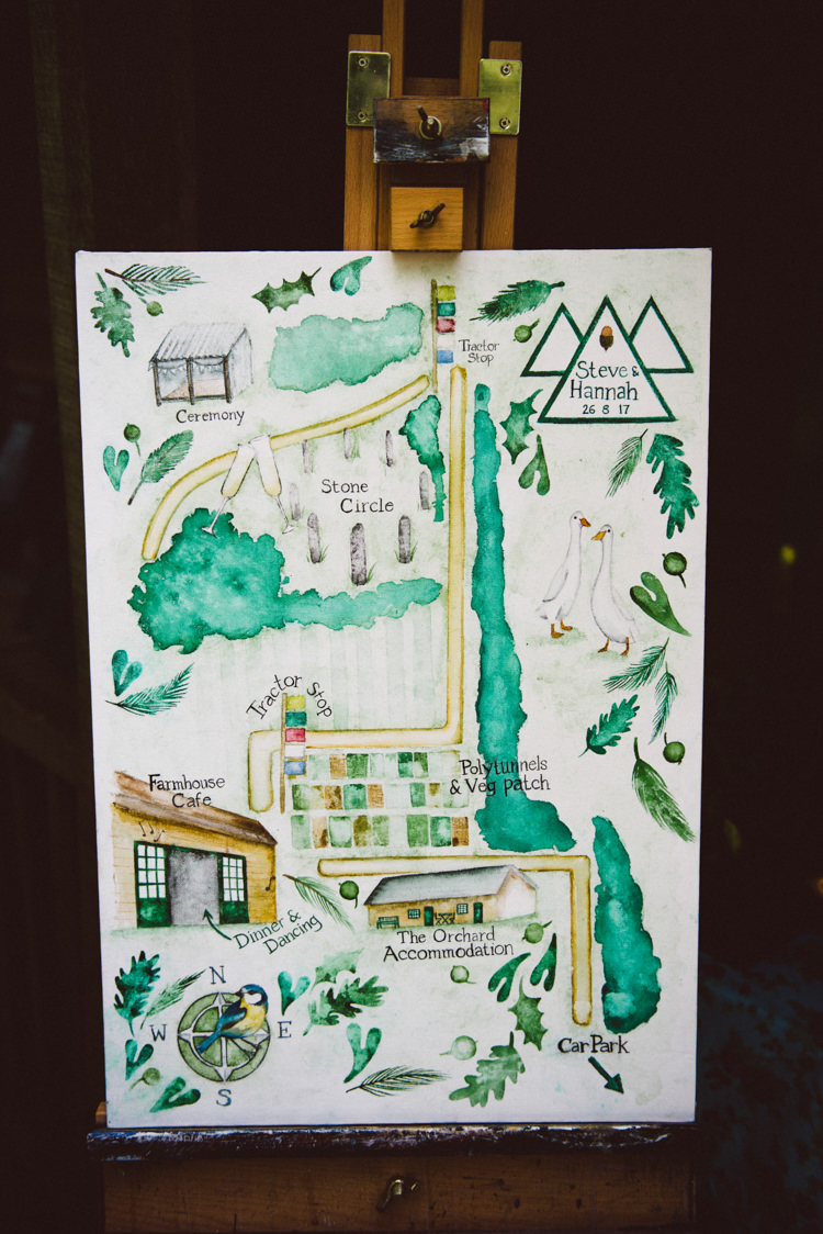 Welcome Sign Hand Painted Watercolour Map Easel Woodland Organic Farm Shop Wedding Gloucestershire https://www.edgodden.co.uk/