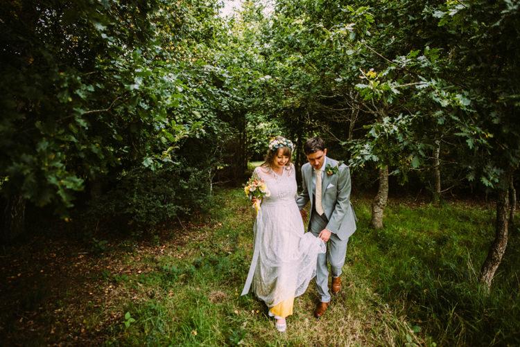 Bride Bridal Lace long Sleeved Dress Gown V Neck Vintage Wild Flower Bouquet Crown Yellow Dip Dye Underskirt Grey Suit Groom Woodland Organic Farm Shop Wedding Gloucestershire https://www.edgodden.co.uk/