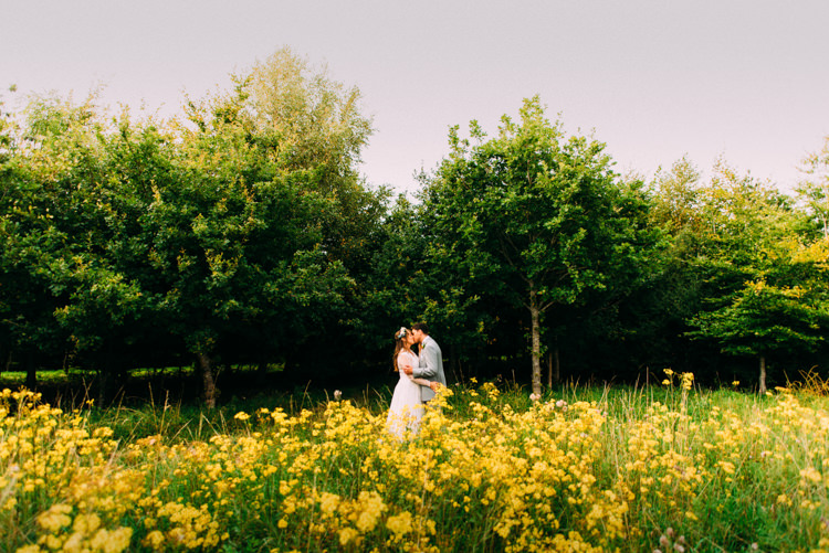 Bride Bridal Lace long Sleeved Dress Gown V Neck Vintage Wild Flower Crown Yellow Dip Dye Underskirt Grey Suit Groom Woodland Organic Farm Shop Wedding Gloucestershire https://www.edgodden.co.uk/