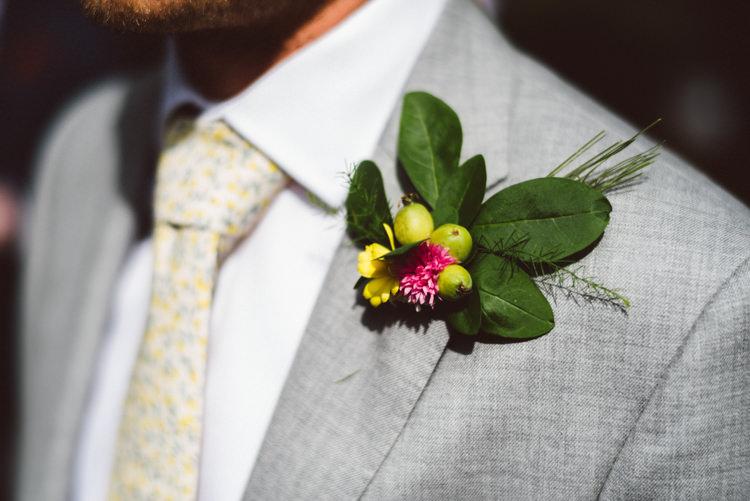 Grey Suit Groom Buttonhole Crap Apple Woodland Organic Farm Shop Wedding Gloucestershire https://www.edgodden.co.uk/