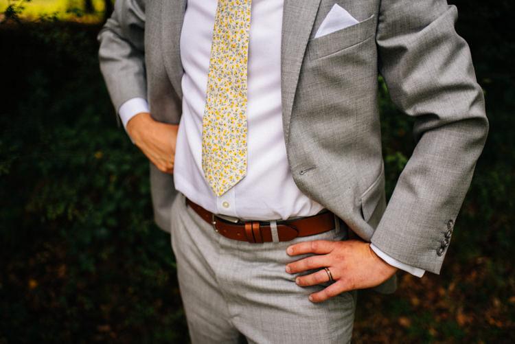 Grey Suit Groom Style Floral Tie Woodland Organic Farm Shop Wedding Gloucestershire https://www.edgodden.co.uk/