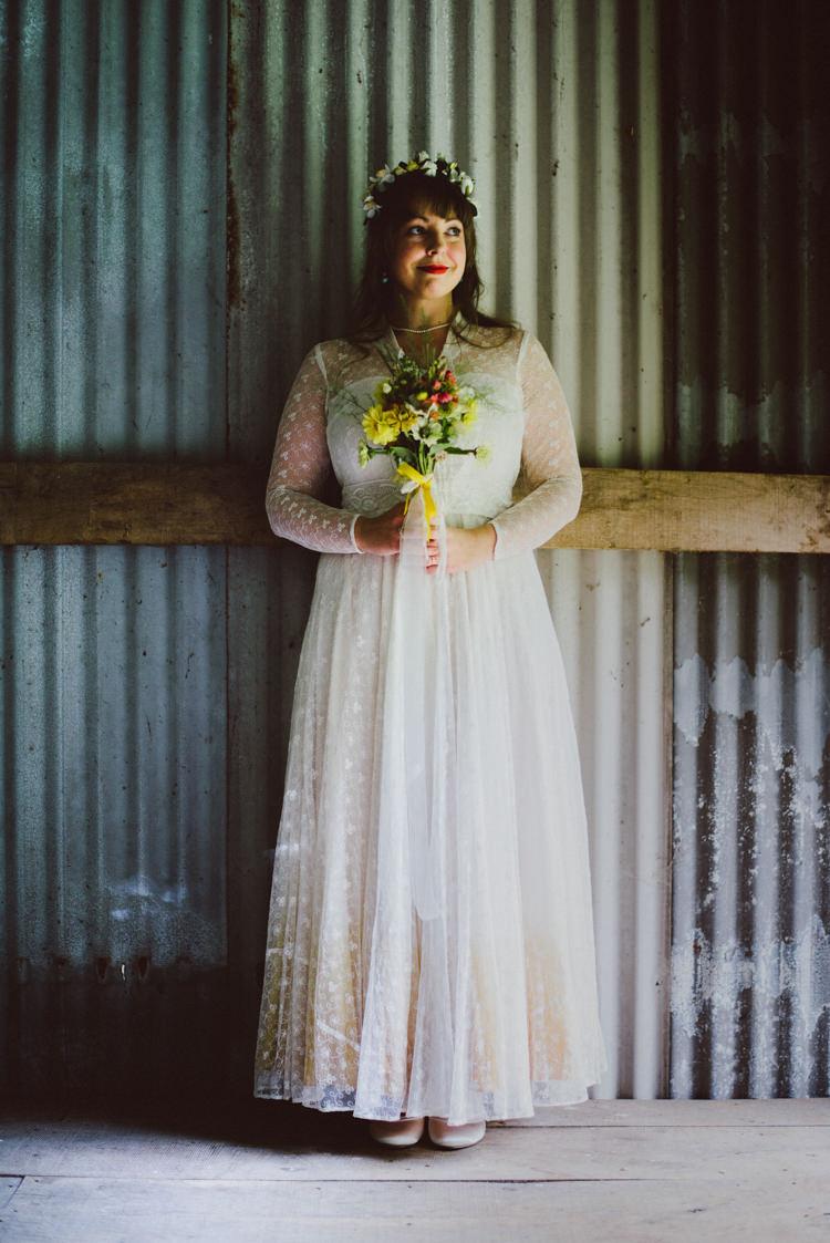 Bride Bridal Lace long Sleeved Dress Gown V Neck Vintage Wild Flower Bouquet Crown Yellow Dip Dye Underskirt Woodland Organic Farm Shop Wedding Gloucestershire https://www.edgodden.co.uk/