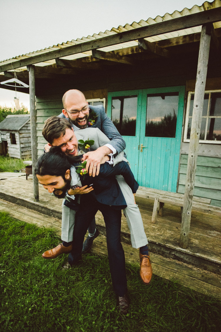 Groom Fun Photo Groomsmen Buttonholes Grey Navy Suit Woodland Organic Farm Shop Wedding Gloucestershire https://www.edgodden.co.uk/