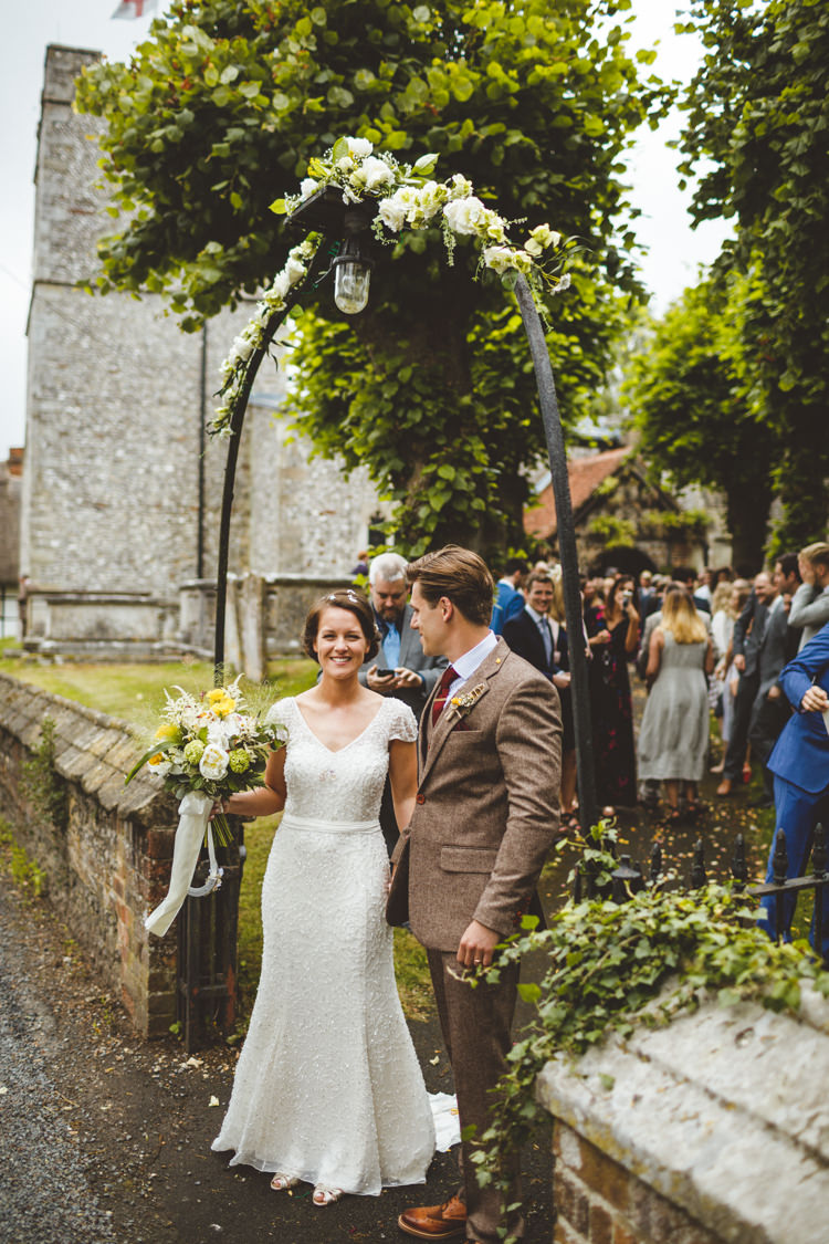 Beaded Sequin Jenny Packham Dress Gown Bride Bridal Cap Sleeves Flower Arch Church Relaxed Country Tipi Yellow Wedding Hampshire https://photography34.co.uk/