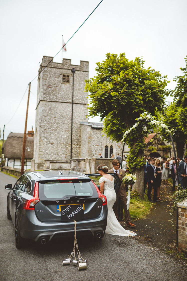 Just Married Car Transport Volvo Estate Relaxed Country Tipi Yellow Wedding Hampshire https://photography34.co.uk/