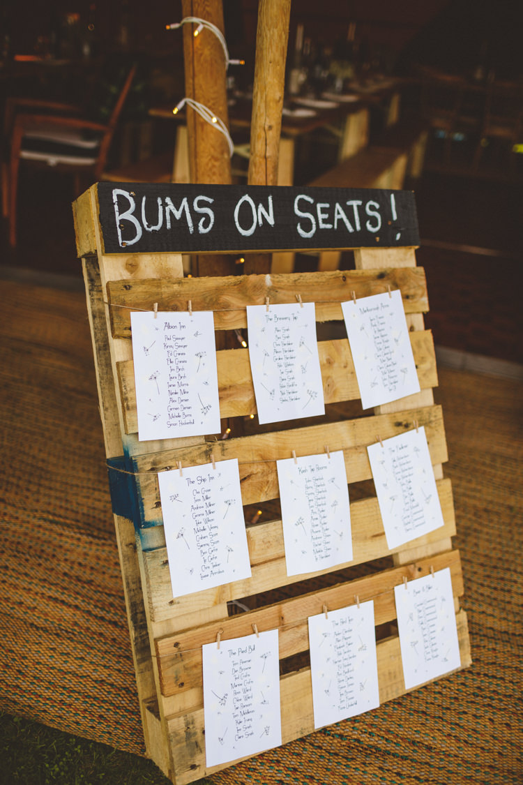 Wooden Pallet Chalk Black Board Seating Plan Table Chart Bums on Seats Relaxed Country Tipi Yellow Wedding Hampshire https://photography34.co.uk/