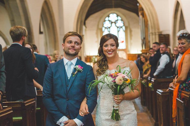 Bride Bridal Sottero & Midgley Dress Gown Lace Shoulder Detail Richard James Suit Three Piece Waistcoat Blue Groom Colourful Outdoor Tipi Farm Wedding https://kirstymackenziephotography.co.uk/