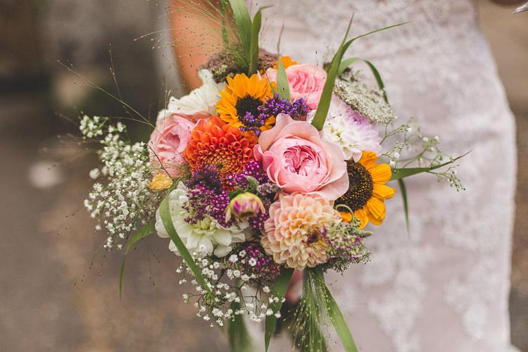 Bride Bridal Bouquet Gypsophila Sunflower Peony Colourful Outdoor Tipi Farm Wedding https://kirstymackenziephotography.co.uk/