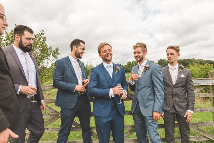 Groom Groomsman Suit Three Piece Waistcoat Mismatched Colourful Outdoor Tipi Farm Wedding https://kirstymackenziephotography.co.uk/