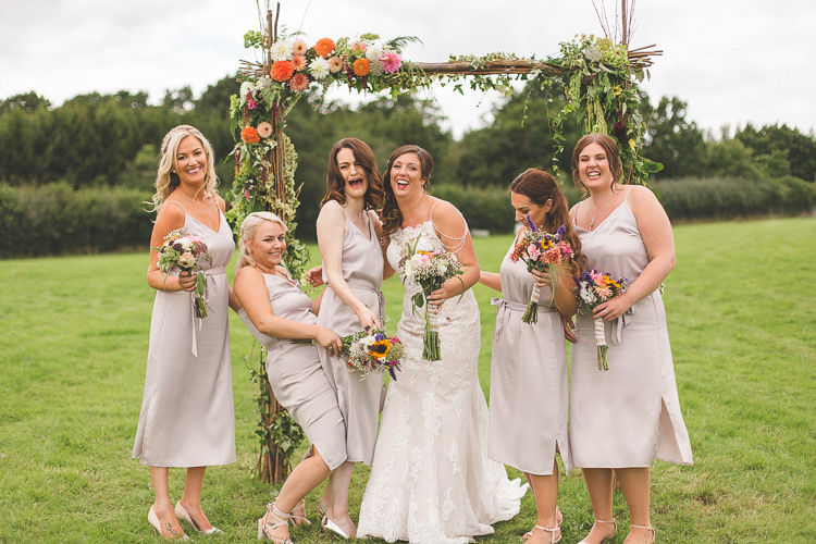 Bride Bridal Sottero & Midgley Gown Dress Lace Strappy Straps Shoulder Detail Bridesmaids Mid Length Blush Colourful Outdoor Tipi Farm Wedding https://kirstymackenziephotography.co.uk/