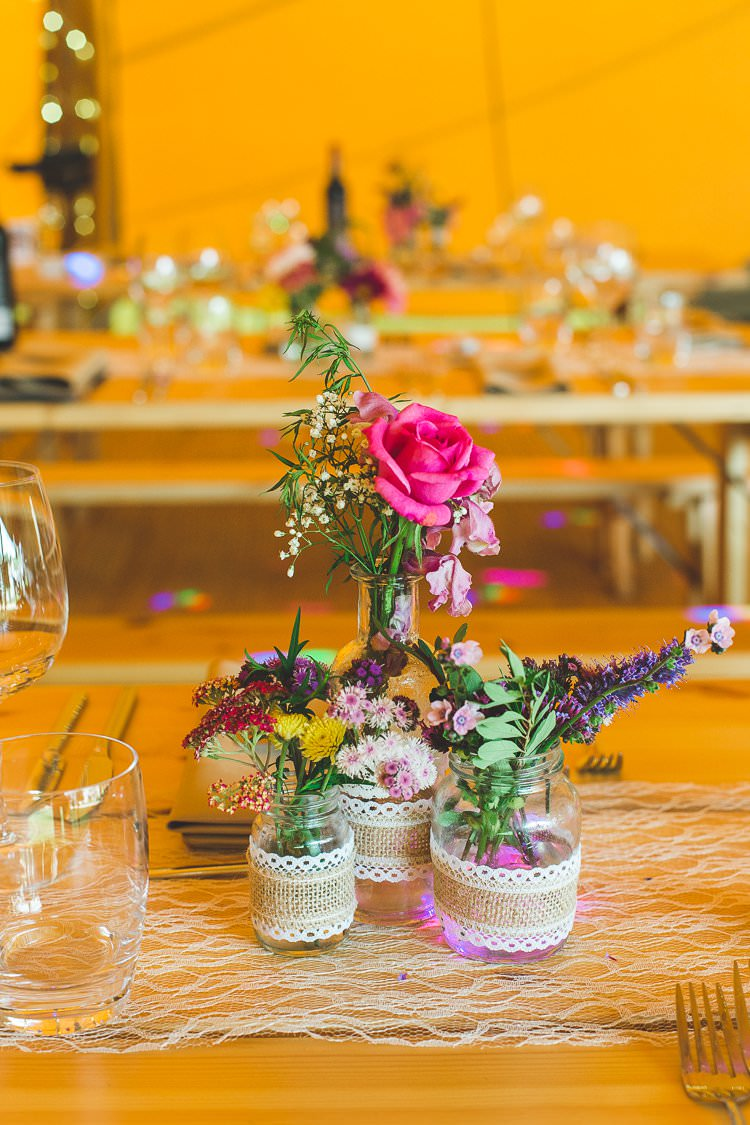 Lace Runner Hessian Jam Jars Florals Flowers Colourful Outdoor Tipi Farm Wedding https://kirstymackenziephotography.co.uk/