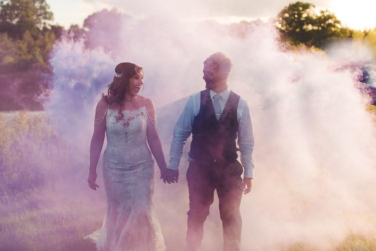 Bride Bridal Sottero & Midgeley Dress Gown Lace Shoulder Detail Richard James Suit Three Piece Waistcoat Blue Groom Smoke Bomb Colourful Outdoor Tipi Farm Wedding https://kirstymackenziephotography.co.uk/