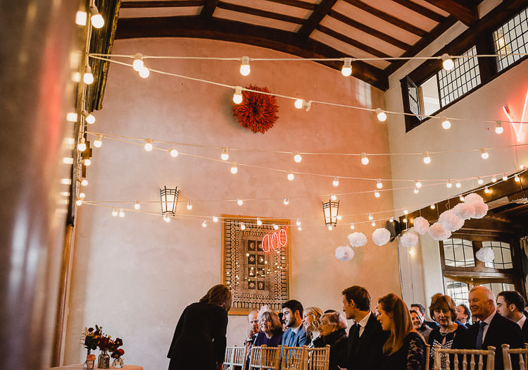 Festoon Lights Pom Poms Raucous Artistic Wintry Wedding Voewood Norfolk https://www.luisholden.com/